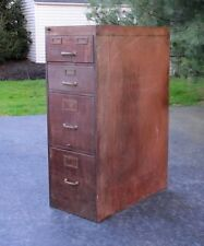 Antique Vintage Industrial Machine Age Faux Wood Metal 4 Drawer File Cabinet