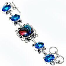 """Handmade Jewelry Bracelet 7-8"""" Zb-546 Dichroic Glass, Blue Topaz Gemstone"""