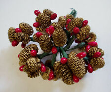 Vintage mini golden pine cones  berries lot of 12 for corsages decor ornaments