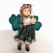 Irish Girl Angel Green Shamrock Wings Victorian Dress Christmas Tree Ornament