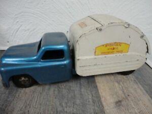 STRUCTO SANITATION TRUCK Trash Hydraulic Vintage Metal Toy 1950S Blue