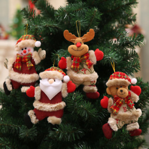 4 PCS Christmas Hanging Ornament Doll Santa Claus Snowman Xmas Tree Decor Gift