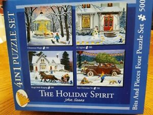 """Bits and Pieces 4 in 1 Puzzle Set """"The Holiday Spirit"""" (4) 500 pc."""