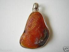 Honig Roh Natur Bernstein 925 Silber Anhänger 5,4 g Genuine Amber