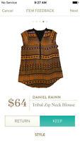 NEW Daniel Rainn Womens Tribal Print Zip Neck Blouse Top From Stitch Fix Medium