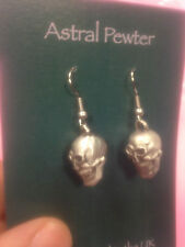SKULL HEAD EARINGS SET OF PEWTER HAND CRAFTED UK FINISH NEW