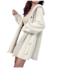 New Women Cashmere Mink Fur Cardigan Coat Mid Long Hooded Knitted Sweater Jacket