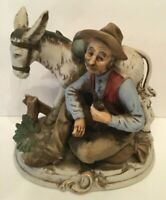 Vintage Old Farmer And His Donkey Resting Scene Porcelain Figurine Farmhouse