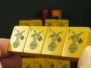 Vintage Chinese Bakelite Mahjong Mahjongg Set Rare Hovering Hawk & Globe Bams #2