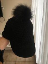 RALPH LAUREN fur pompom cap, black, 100%wool, mint condition