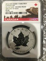 2016 Canadian WWI Mark-V Tank Privy coin NGC PF69 .9999 fine silver