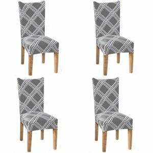 4Pcs Stretch Dining Chair Covers Seat Slipcover Spandex Wedding Cover Removable