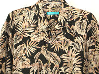 Tori Richard Shirt XL Black Tan Map Globe Tropical Leaves Hawaiian Camp Aloha