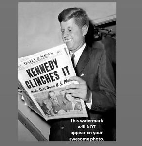 John F. Kennedy Grins Holding Newspaper After Election Win PHOTO President-elect