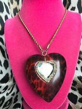 Betsey Johnson Vintage HUGE Clear Leopard Lucite Crystal Heart Long Necklace