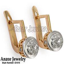 Old Russian style Malinka Diamond Earrings 18K  Rose & white Gold G-VS1-2 #E1015