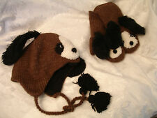deLux DOG HAT & MITTENS SET knit ADULT costume LND animal mens women for people