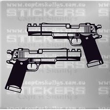 GUN PISTOL 1 DECALS PAIR 180mm x 100mm 20 COLOURS TO CHOOSE FROM MPN 996