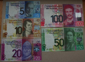 Clydesdale Bank, a set of 2009 issues, £5, £10, £20, £50, £100