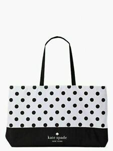 NEW Kate Spade Extra Large Beach Dot Shopping Tote Bag Black / White