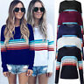 Womens Striped Sweater Knitted Hoodies Pullover Jumper Tops Blouse Ladies Gift