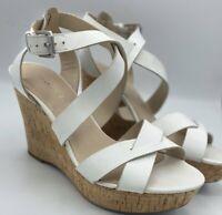 FRANCO SARTO Wedges Leather Cork Heel Sandals Shoes Size 6 1/2 6.5 Women's EUC