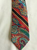 BRIONI Italy Men's Tie 100% Seta Silk Multi Color Paisley Necktie