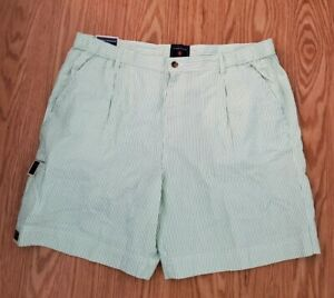 SADDLEBRED Men's green & White Striped HERITAGE Seersucker Shorts Sz 40