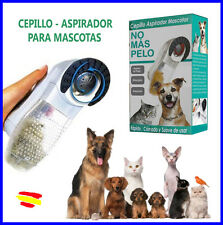 CEPILLO Aspirador MASCOTAS GATOS PERROS elimina pelos y los ASPIRA masajeador