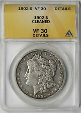 1902 $1 ANACS VF 30 Details (Cleaned) Morgan Silver Dollar