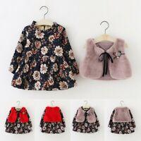 2pcs Infant Toddler Baby Girl Floral Faux Fur Vest+Princess Dress Warm Outfits