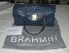 Brahmin Moc Croc Blue Large Handbag NwoT
