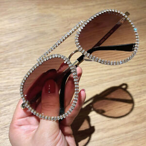 Luxury Rhinestone Sunglasses Women Vintage Shades Driving Outdoor Eyewear UV400