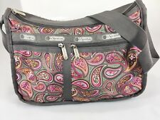 LeSportsac Gray Pink Paisley Everyday Expandable Crossbody Shoulder Bag Handbag