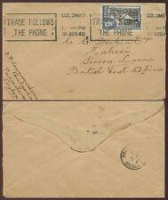 CEYLON to SIERRA LEONE 1940 WW2 UNCENSORED + MACHINE SLOGAN TELEPHONE