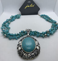 Jules Faux Turquoise And Silvertone Pendent Necklace