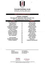 Teamsheet - Fulham U18 v Liverpool U18 2012/13