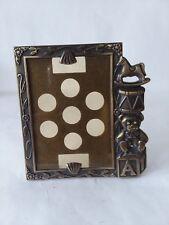 "Vtg Sears Portrait Studio Child's Bronze Tone Metal Picture Frame Toys 2 1/4"""