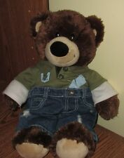 Build A Bear Brown Teddy Bear Plush Stuffed Toy Blue Jeans Polo Cute Preppy 14""