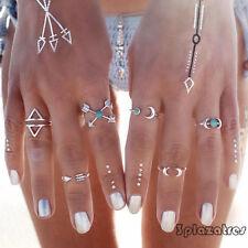6Pcs Turchese Freccia Luna Normativa Gioielli Midi Anelli Set regalo delle donne