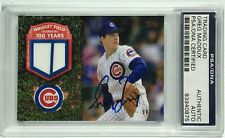 Greg Maddux Signed 2016 Topps Baseball Trading Card w/ Game Used PSA 83940875