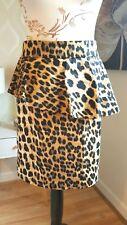 ZARA Marrón/Negro Estampado De Leopardo Falda de Peplum [tamaño EUR M]