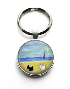 Silver Plated Scottie and Westie Dog Art Keyring