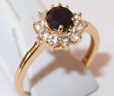 Kanchanaburi Sapphire & White Topaz ring in gold overlay Sterling Silver, Size P