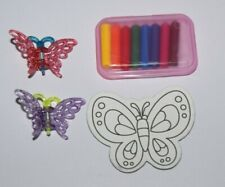 Loot Bag Fillers Toys 28 2 Butterfly Hair Clips Fridge Magnet & Set Of Crayons