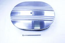 """12"""" Oval Half Finned Air Cleaner Polished Aluminum for Classic Chevy Ford Mopar"""