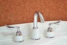 """Chrome and white 8"""" widespread bathroom Lav Sink faucet mixer tap 3 Holes"""