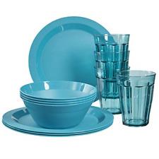 12-piece set Teal Cambridge Durable Plastic Plate Bowl and Tumbler Dinnerware