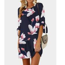 Womens Floral Print Bowknot Sleeves Cocktail Mini Dress Casual Party Sundress