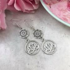 Silver Lotus Flower Earrings, Mandala, Drop Dangle Hook, Spiritual Jewellery